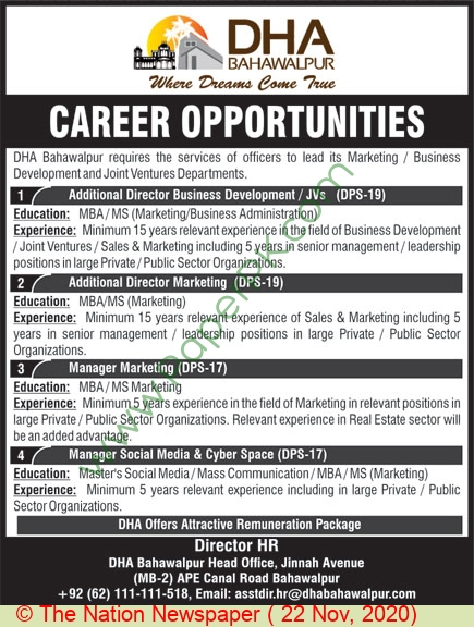 Defence Housing Authority jobs newspaper ad for Manager in Bahawalpur