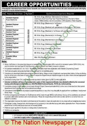 Public Sector Scientific & Technical Organization jobs newspaper ad for Assistant Engineer in Islamabad