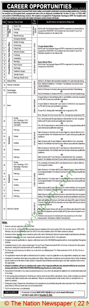 Public Sector Scientific & Technical Organization jobs newspaper ad for Nurse in Rawalpindi