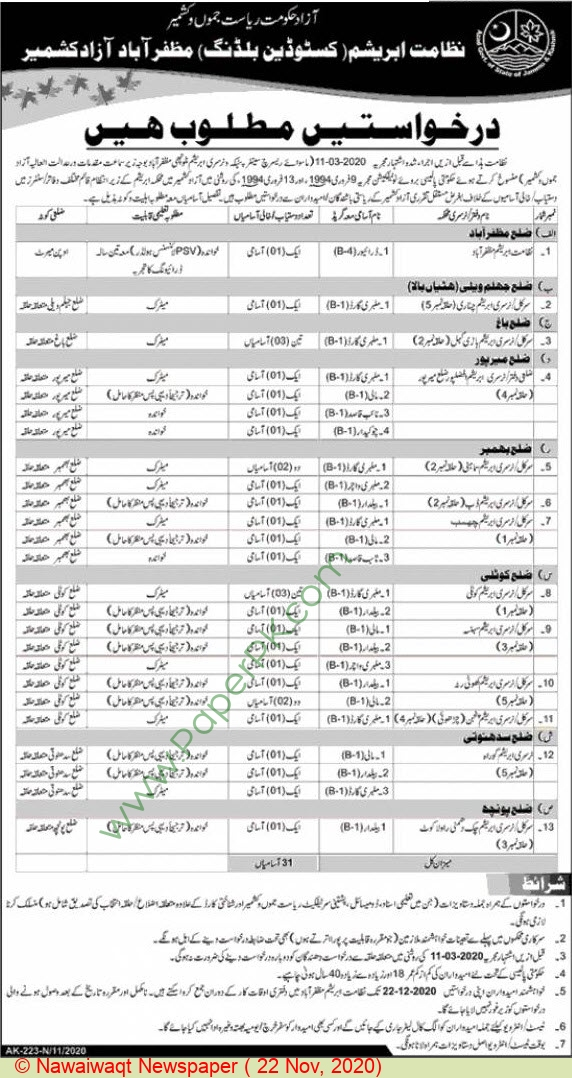 Abrashim Department Custodian Building jobs newspaper ad for Driver in Muzaffarabad