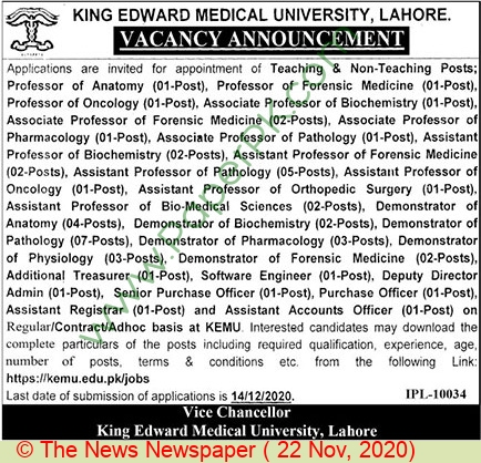 King Edward Medical University jobs newspaper ad for Assistant Accounts Officer in Lahore