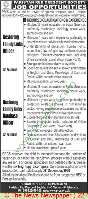 Pakistan Red Crescent Society jobs newspaper ad for Restoring Family Links Officer in Islamabad