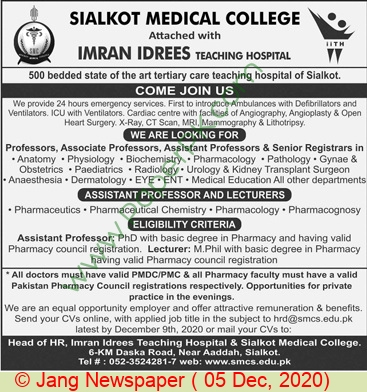 Medical College jobs newspaper ad for Lecturers in Sialkot on 2020-12-05