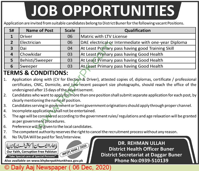 Health Department jobs newspaper ad for Sweeper in buner on 2020-12-06