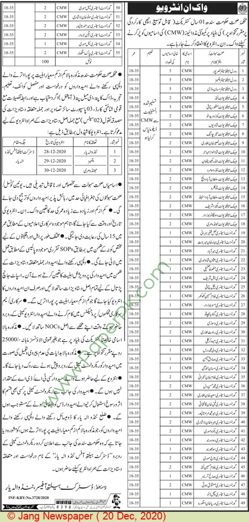 Health Department jobs newspaper ad for Midwive in Karachi on 2020-12-20