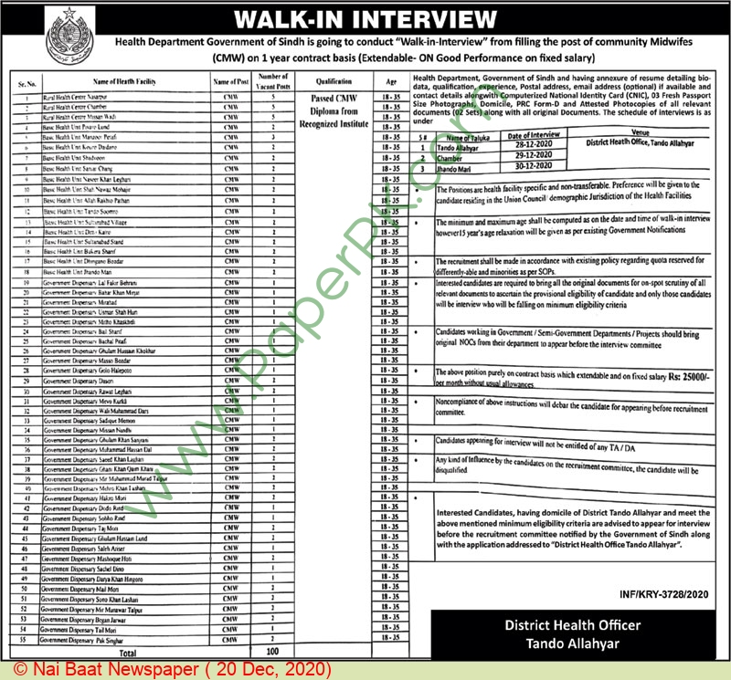 Health Department jobs newspaper ad for Community Midwife in Tando Allahyar on 2020-12-20
