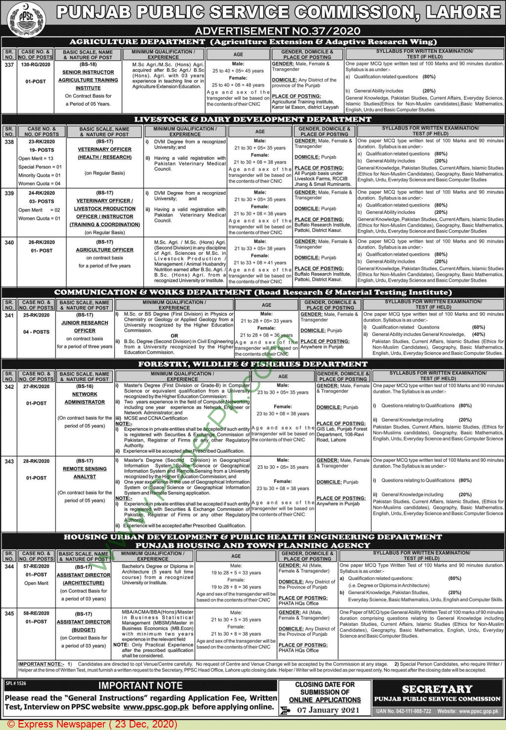 Communication & Works Department jobs newspaper ad for Junior Research Officer in Lahore on 2020-12-23