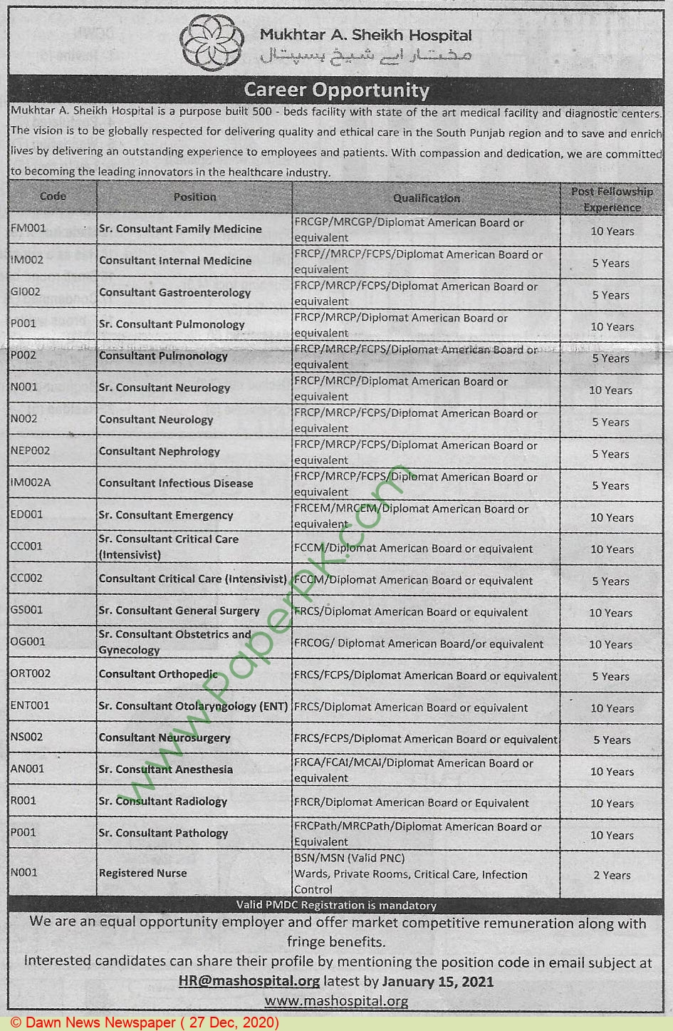 Mukhtar A Sheikh Hospital jobs newspaper ad for Senior Consultant in Multan on 2020-12-27