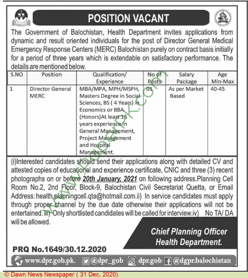 Health Department jobs newspaper ad for Director General Merc in Quetta on 2020-12-31