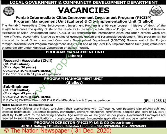 Local Government & Community Development Department jobs newspaper ad for Research Associate in Sialkot on 2020-12-31