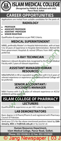 Islam Medical College jobs newspaper ad for Professor in Sialkot on 2021-01-03