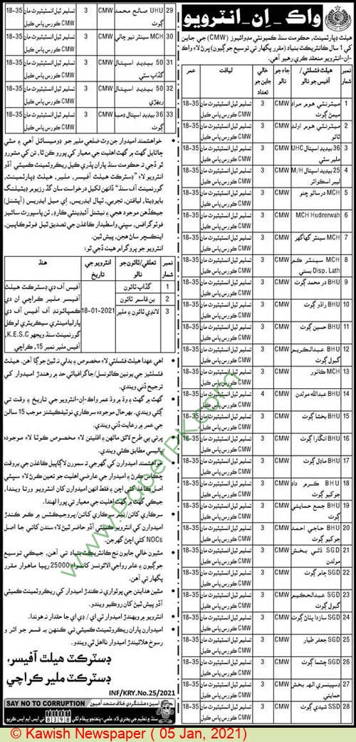 Health Department jobs newspaper ad for Community Midwife in Karachi on 2021-01-05