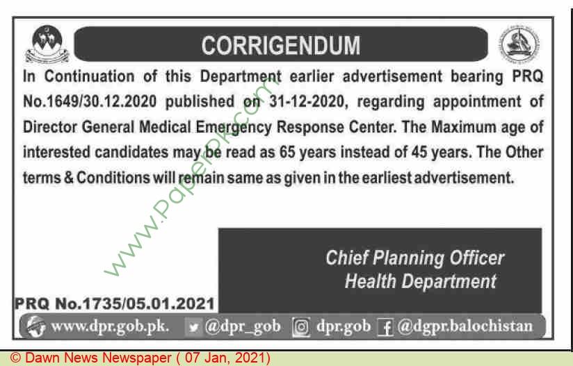 Health Department jobs newspaper ad for Director General Merc in Quetta
