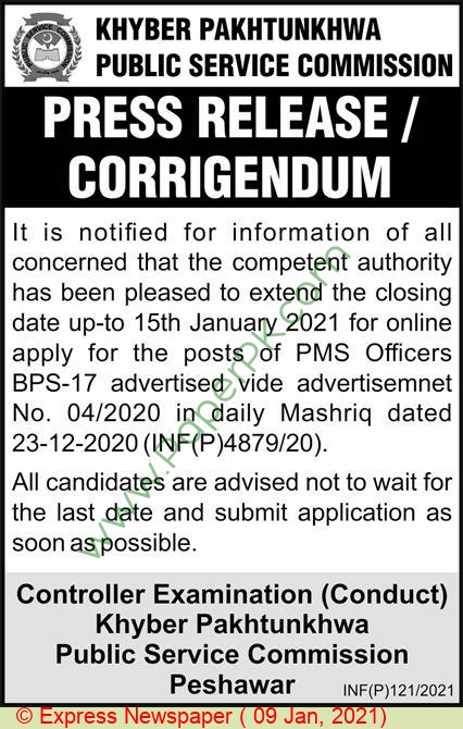 Khyber Pakhtunkhwa Public Service Commission jobs newspaper ad for Staff in Peshawar on 2021-01-09