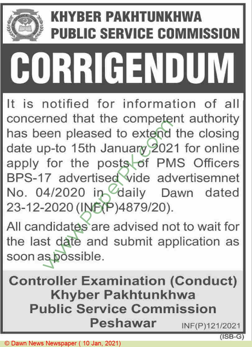 Khyber Pakhtunkhwa Public Service Commission jobs newspaper ad for Pms Officer in Peshawar on 2021-01-10
