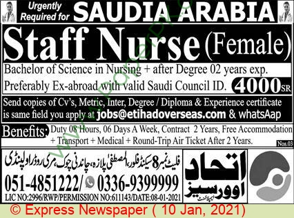 Etihad Overseas Employment jobs newspaper ad for Staff Nurse in Rawalpindi on 2021-01-10