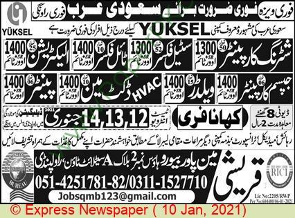 Qureshi Manpower Bureau jobs newspaper ad for Painter in Rawalpindi on 2021-01-10