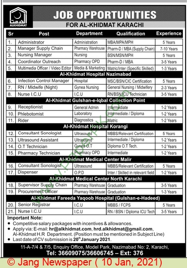 Al Khidmat Hospital jobs newspaper ad for Pharmacy Technician in Karachi on 2021-01-10