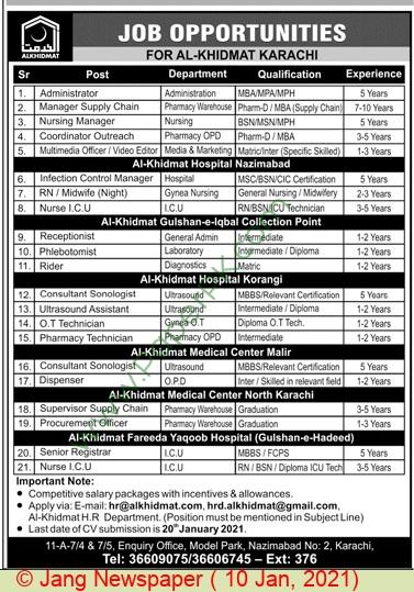 Al Khidmat Hospital jobs newspaper ad for Consultant Sonologist in Karachi