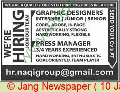Naqi Group jobs newspaper ad for Graphic Designer in Lahore on 2021-01-10