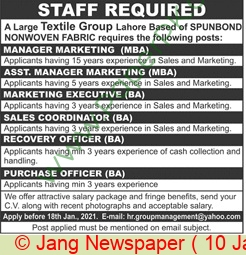 Textile Group jobs newspaper ad for Manager in Lahore on 2021-01-10