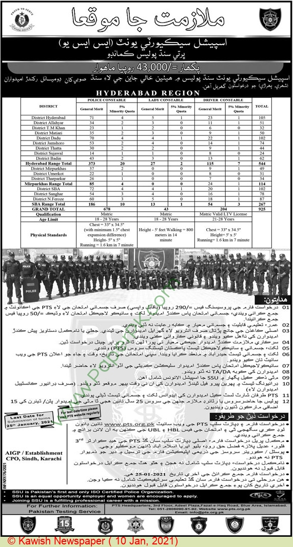 Sindh Police jobs newspaper ad for Lady Constable in Karachi on 2021-01-10