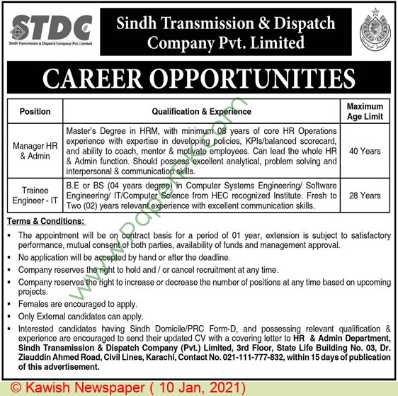 Sindh Transmission & Despatch Company Private Limited jobs newspaper ad for Manager Hr & Admin in Karachi on 2021-01-10