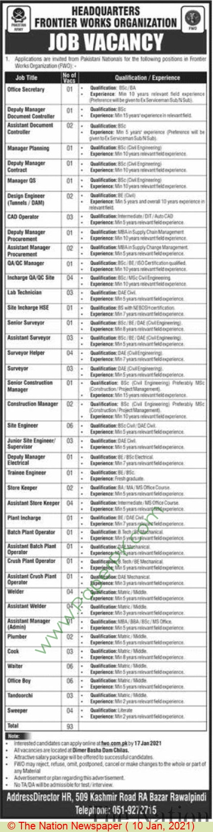 Frontier Works Organization jobs newspaper ad for Construction Manager in Rawalpindi on 2021-01-10
