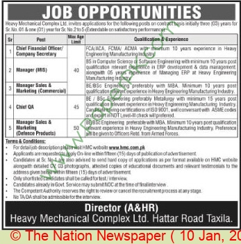 Heavy Mechanical Complex jobs newspaper ad for Chief Quality Assurance in Taxila on 2021-01-10