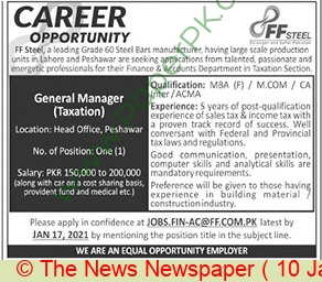 Ff Steel jobs newspaper ad for General Manager Taxation in Peshawar on 2021-01-10