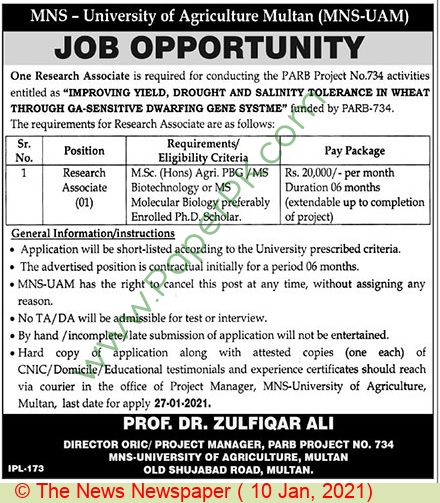 Muhammad Nawaz Sharif University Of Agriculture jobs newspaper ad for Research Associate in Multan on 2021-01-10