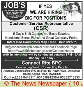 Rawalpindi Based Company jobs newspaper ad for Customer Service Representative in Rawalpindi