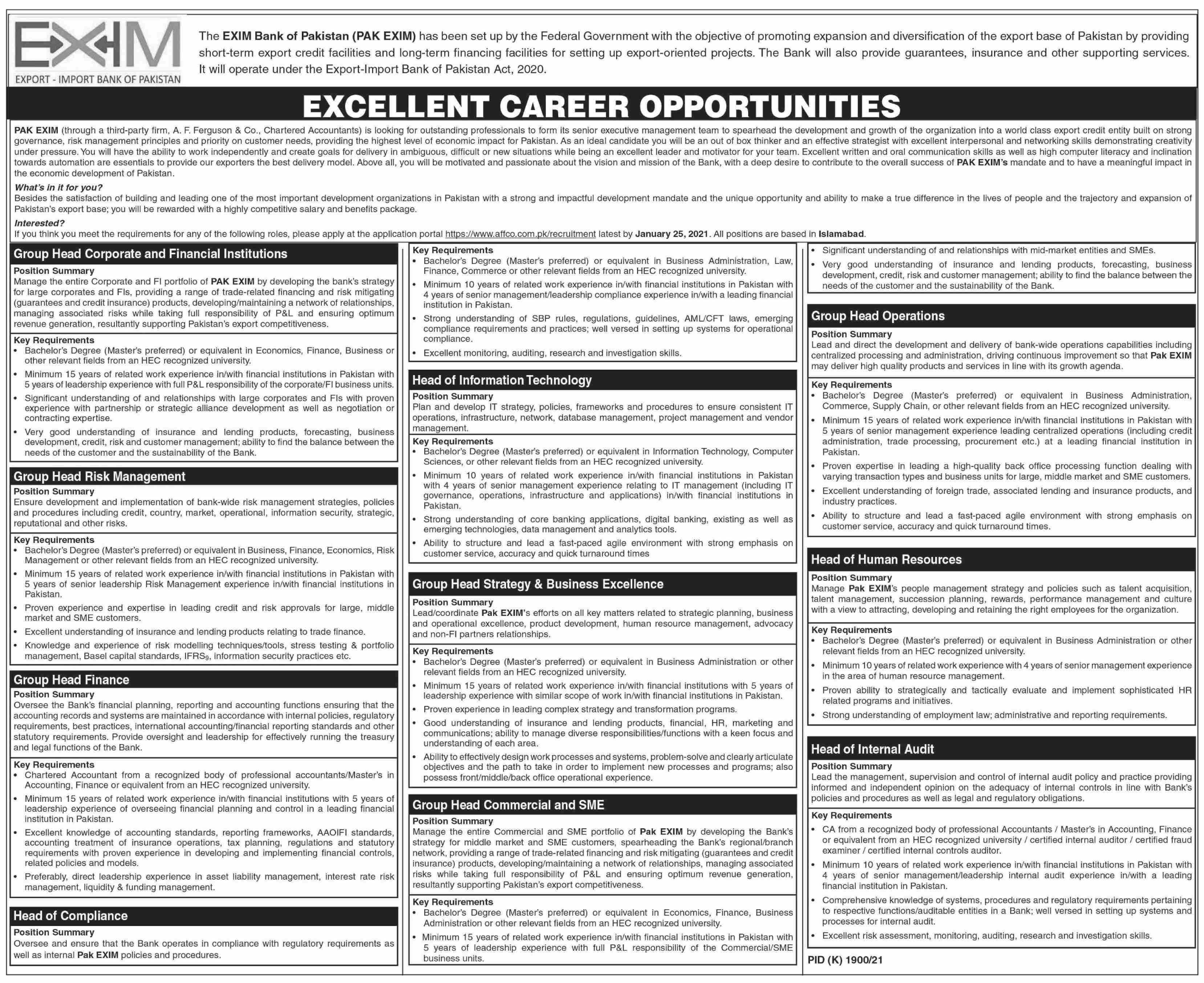 Exim Bank Of Pakistan jobs newspaper ad for Head Of Internal Audit in Lahore