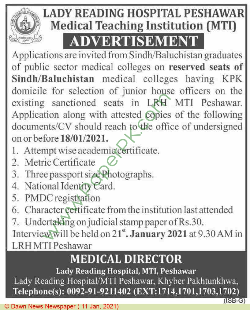 Lady Reading Hospital jobs newspaper ad for Junior House Job in Peshawar on 2021-01-11