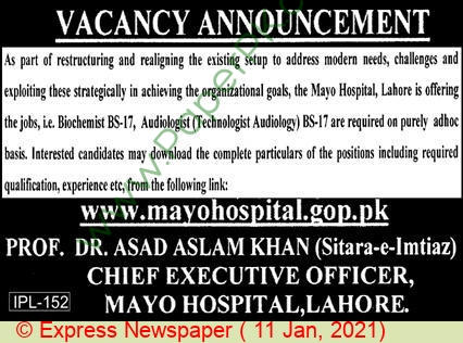 Mayo Hospital jobs newspaper ad for Biochemist in Lahore on 2021-01-11