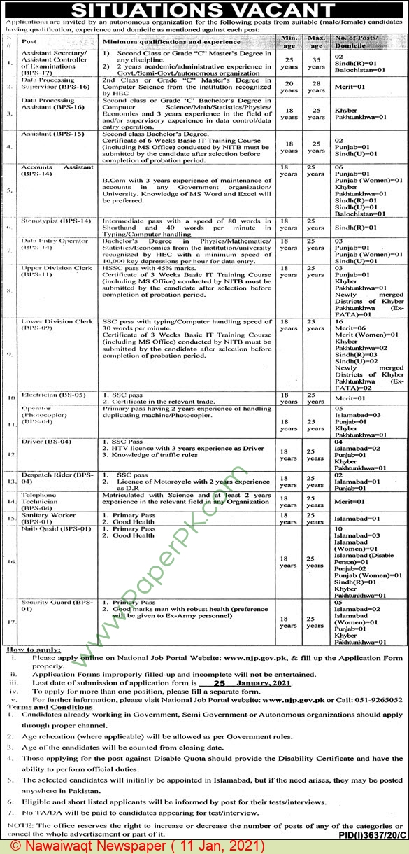 Federal Government jobs newspaper ad for Assistant Secretary in Islamabad on 2021-01-11