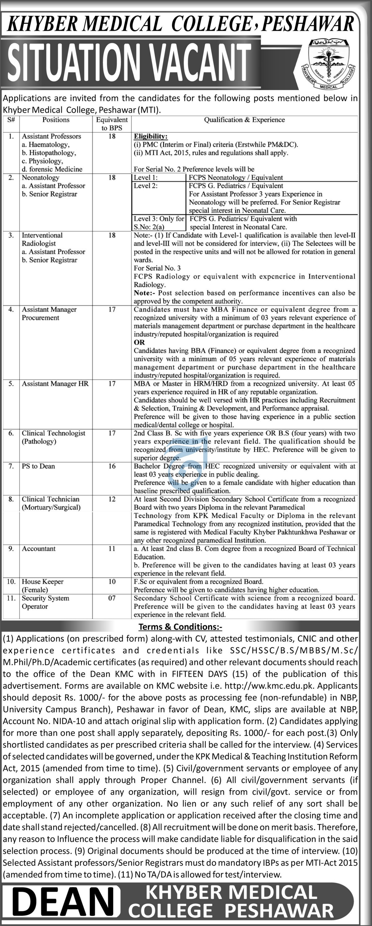 Khyber Medical College jobs newspaper ad for Assistant Manager in Peshawar