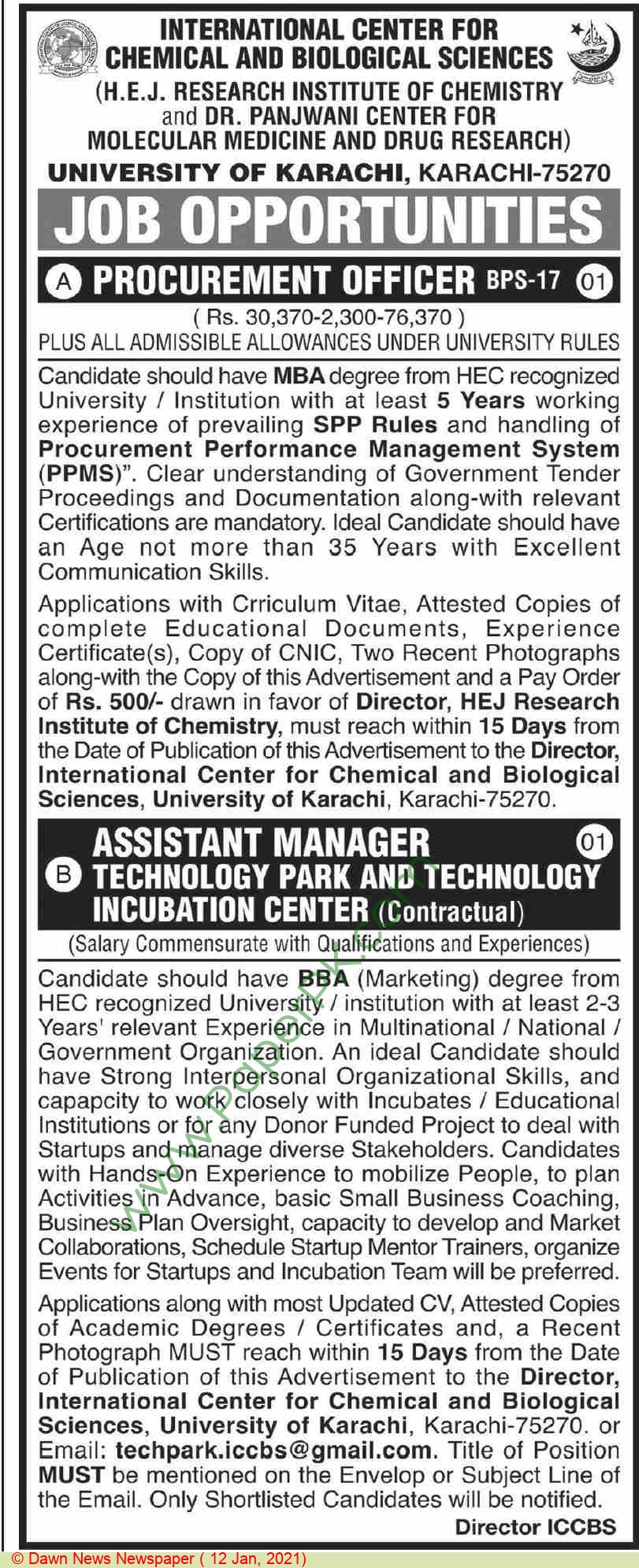 International Center For Chemical & Biological Sciences jobs newspaper ad for Assistant Manager in Karachi on 2021-01-12