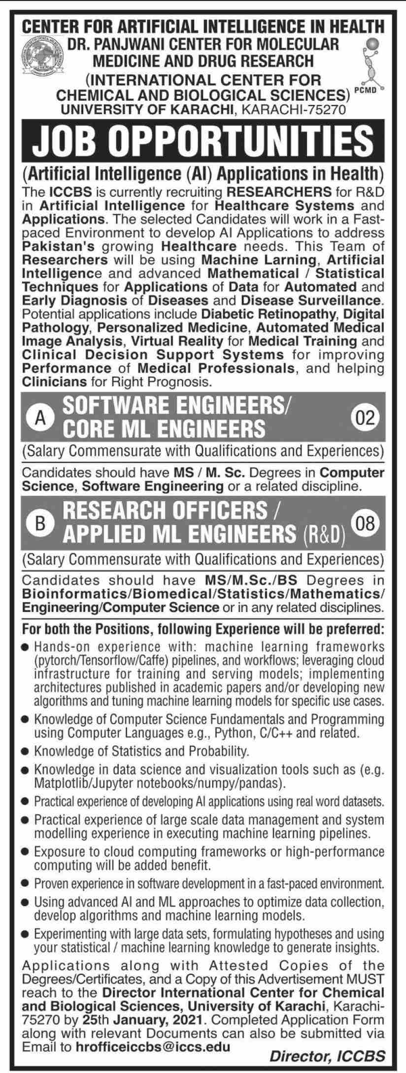 International Center For Chemical & Biological Sciences jobs newspaper ad for Research Officer in Karachi