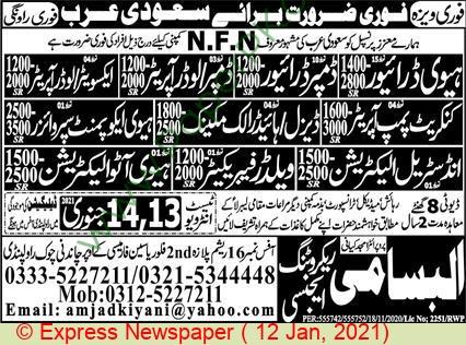 Al Bassami Recruiting Agency jobs newspaper ad for Heavy Auto Electrician in Rawalpindi on 2021-01-12