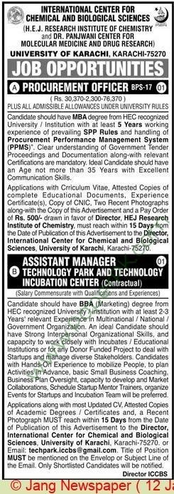 International Center For Chemical & Biological Sciences jobs newspaper ad for Procurement Officer in Karachi on 2021-01-12