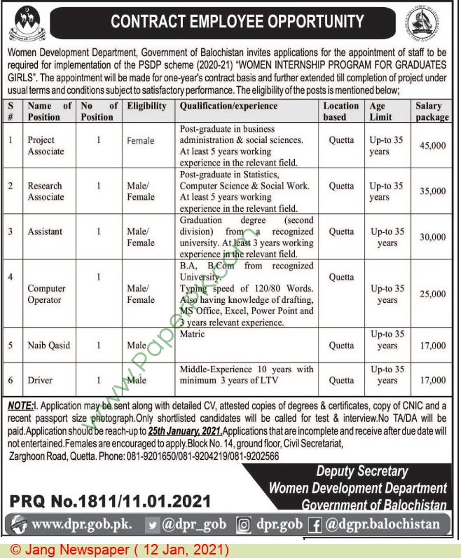 Women Development Department jobs newspaper ad for Project Associate in Quetta on 2021-01-12