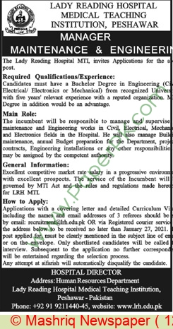 Lady Reading Hospital Medical Teaching Institution jobs newspaper ad for Manager in Peshawar