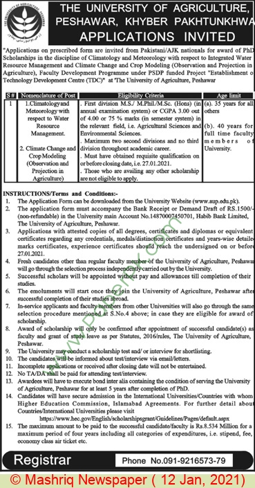 The University Of Agriculture jobs newspaper ad for Climatology in Peshawar on 2021-01-12
