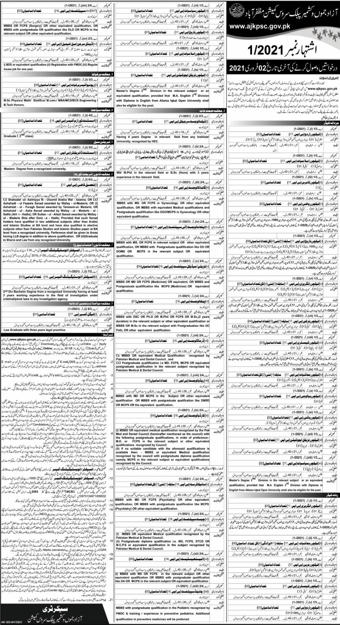 Higher Education Department jobs newspaper ad for Lecturer in Muzaffarabad on 2021-01-12