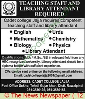 Cadet College jobs newspaper ad for Teacher in Rawalpindi