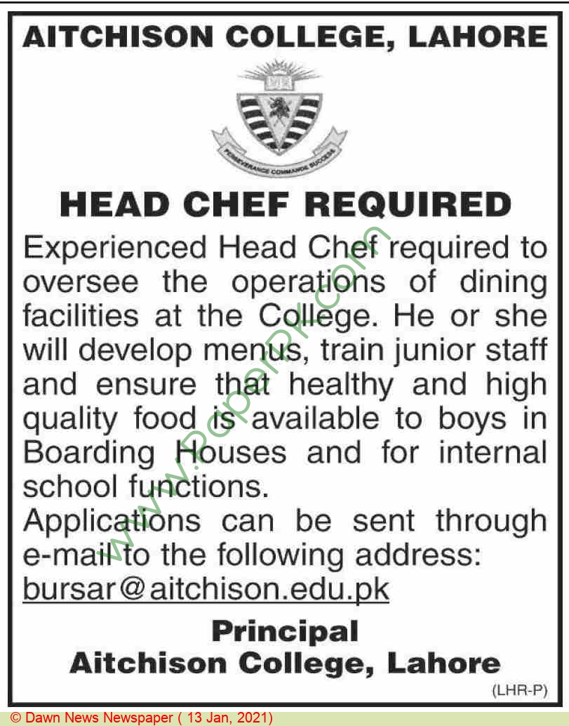 Aitchison College jobs newspaper ad for Head Chef in Lahore on 2021-01-13