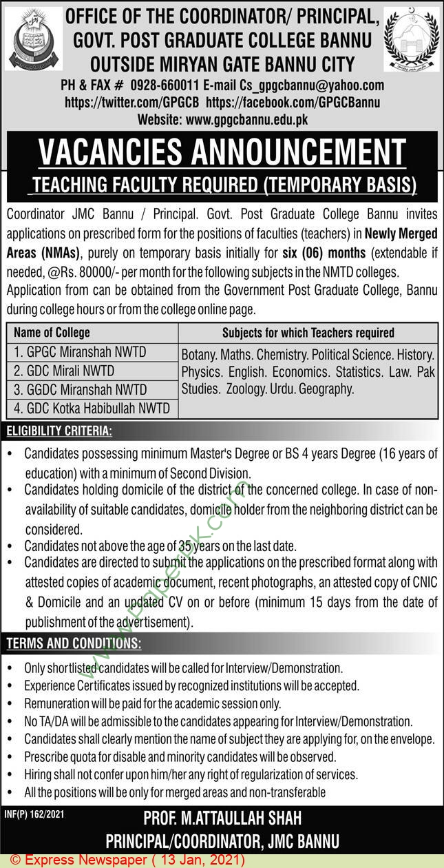 Government Post Graduate College jobs newspaper ad for Teacher in Bannu on 2021-01-13