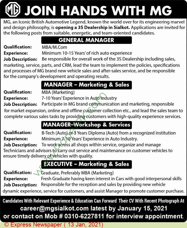 Mg Motors jobs newspaper ad for General Manage in Sialkot on 2021-01-13