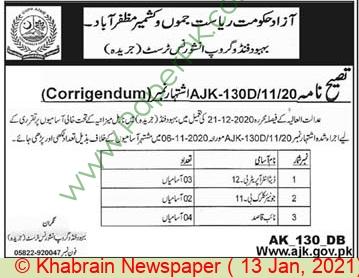 Azad Jammu & Kashmir Employees Welfare Fund Group Insurance Trust jobs newspaper ad for Junior Clerk in Muzaffarabad on 2021-01-13